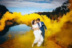 Свадебная фотосессия с цветным дымом!